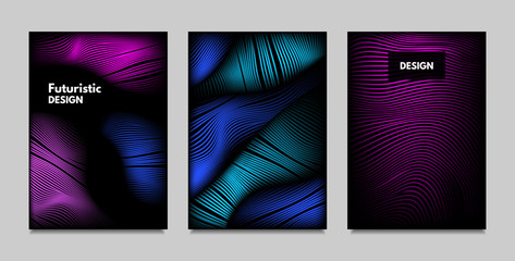 Fluid Metallic Shapes Abstraction. Covers with Trendy Vibrant Gradient and Movement Effect. Abstract Wavy Geometry. Vector Templates with Distortion of Lines. Fluid Shapes for Business Presentation.