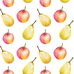 Watercolor seamless pattern with apples and pears. Hand drawn design, white background, summer fruit illustration. For the design of invitations, greeting cards, wallpapers, banners, web