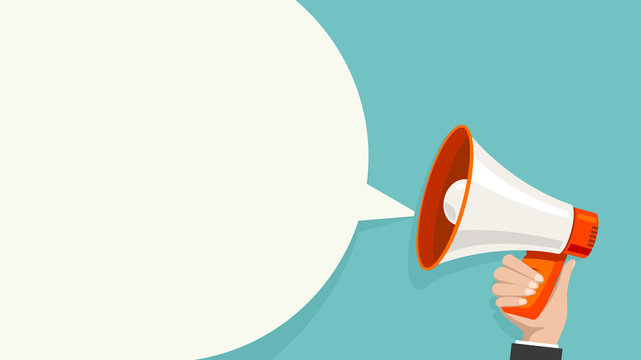 Megaphone white bubble for social media marketing concept. Vector announce for marketing