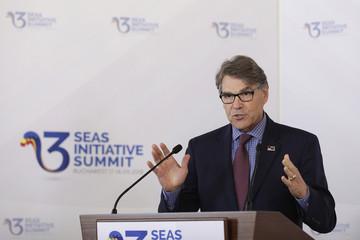 U.S. Energy Secretary Perry speaks during the Three Seas Initiative Summit in Bucharest