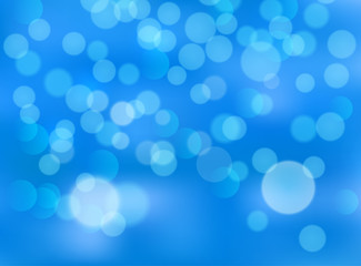 Blue bokeh abstract festive background. Golden christmas light shine bright holiday magic decoration