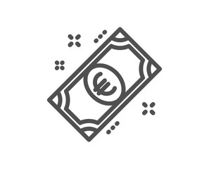 Euro money line icon. Payment method sign. Eur symbol. Quality design element. Classic style euro cash. Editable stroke. Vector