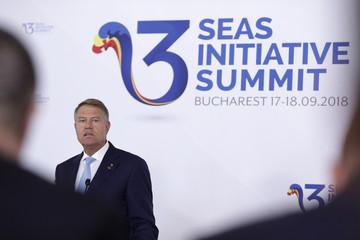 Romanian President Iohannis speaks during the Three Seas Initiative Summit in Bucharest