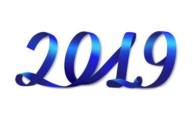 Blue ribbon shapes number 2019. White background. Vector illustration.