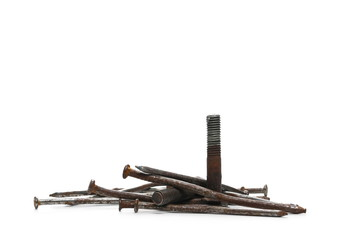 pile old, rusty metal nail and screw isolated on white background