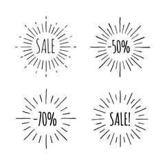 Sunburst ink hand drawn sale banner vector set. Part one.