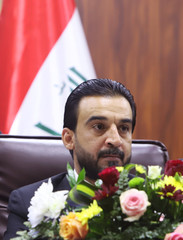The new speaker of Iraq's parliament Mohammed al-Halbousi, attends a meeting for the basra provincial Council in Basra