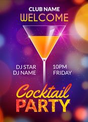 Cocktail party poster vector backgorund with alcohol drinks. Cocktail party invitation flyer design