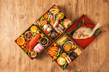 典型的なおせち料理 General Japanese New Year dishes(osechi)