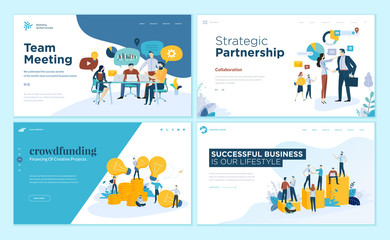Set of web page design templates for our team, meeting and brainstorming, strategic partnership, crowdfunding, business success. Vector illustration concepts for web development.