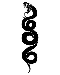 Sign of a black snake on a white background.