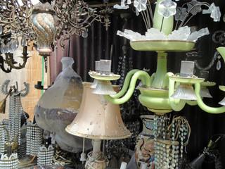 Flea Market in Tbilisi / Old chandeliers, lamps at the flea market in Tbilisi