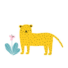 Cute little leopard with tropical flower. Vector hand drawn illustration.