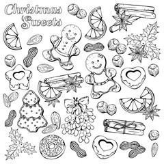 Group of vector illustrations on the Christmas Traditions theme; set of different kinds of Christmas symbols and sweets: candies, fruits and nuts. Pictures are depicted as dark sketches.