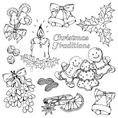 Group of vector illustrations on the Christmas Traditions theme; set of different kinds of Christmas symbols and sweets: candies, fruits and nuts.