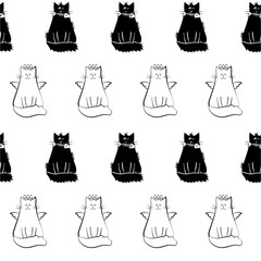 Seamless pattern with funny black and white cat silhouettes.