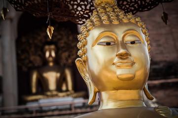 Closeup of Buddha statue at Buddhist temple, Chiang Mai, Thailand