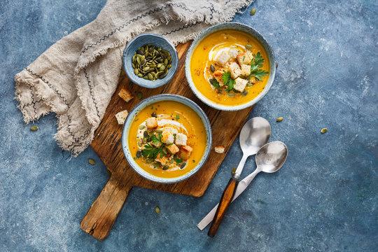 Spiced pumpkin, carrot, and sweet potato soup.
