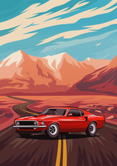 Retro american muscle car poster. Illustration with car standing on road near mountains.