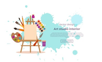 Art studio design interior colorful vector illustration.