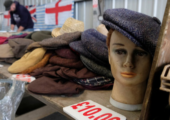 A flat cap adorns a mannequin on a stall at the livestock market in Melton Mowbray