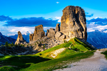 View of the Cinque Torri in Nuvolao Group of the Italian Dolomites