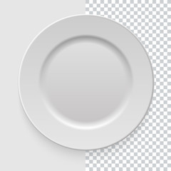 Realistic empty white dish plate with shadow on transparent background. Template design for food presentation and your projects. Top view. Kitchen appliances utensils for eating. Vector illustration.