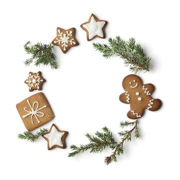 christmas gingerbread cookies wreath