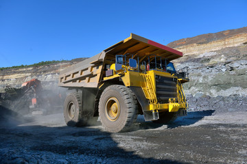 Large quarry dump truck. Loading the rock in the dumper. Loading coal into body work truck