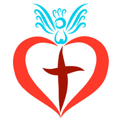 Red heart with a cross and blue bird on it