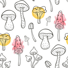 Autumn seamless pattern with forest mushrooms
