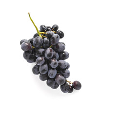 Fototapete - Black grapes isolated on white background, top view.