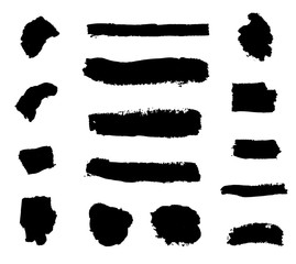 Vector Collection of Black Paint Strokes Isolated on White Background.