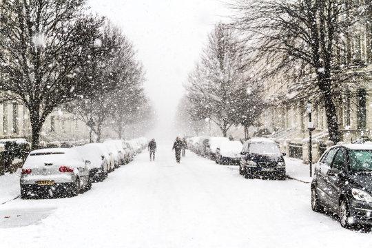 Heavy snowfall in London, United Kingdom - February 28, 2018