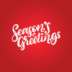 Seasons Greetings, hand lettering on red background. Vector Christmas illustration. Happy Holidays greeting card, poster