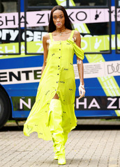 Model Winnie Harlow prepresetns a creation during the Natasha Zinko catwalk show during London Fashion Week in London