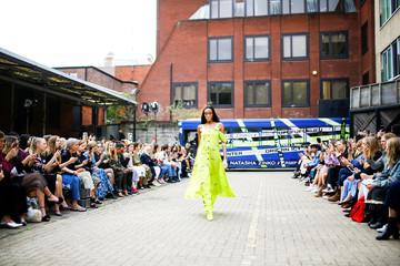 Model Winnie Harlow prepresetns a creation during the Natasha Zinko catwalk show during London Fashion Week in London