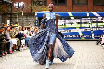 A model presents a creation during the Natasha Zinko catwalk show during London Fashion Week in London