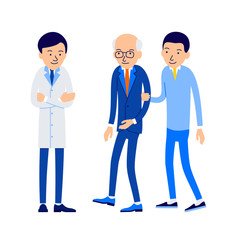 Doctor and patient. Young man leads an elderly man to an appointment with doctor. Guy escorts grandpa to hospital. Illustration of people characters isolated on white background in flat style