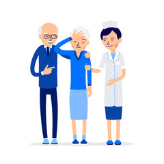 Nurse and patient. Elderly people, man and woman standing next to a doctor. Elderly woman with a headache. Illustration of people characters isolated on white background in flat style