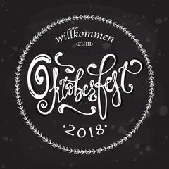Oktoberfest handwritten lettering logotype. Oktoberfest typography vector design for greeting cards, logo, card, postcard and poster. Bavarian Beer Festival banner. Design template celebration