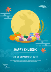 Happy Chuseok poster vector illustration. Night sky with set of lucky bag, persimmon fruit and Songpyeon(rice cake). Flyer design.