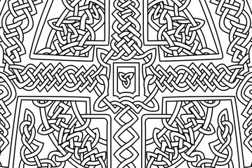Beautiful coloring book page with abstract knotted celtic art