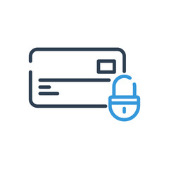 Line art. Debit and Credit card. High level protection. lock security