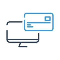 Line art. credit and debit card on computer screen. vector