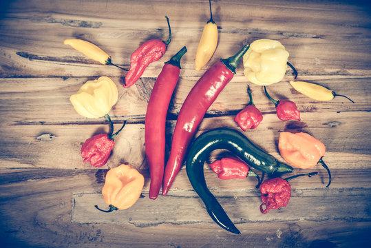 verschiedene scharfe Chilisorten auf einem Holzbrett Peperoni Chili
