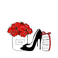 Cute fashion patch badges set: Box red flower, macaroons with bow, black shoes, macaron cakes. Paris romantic design. Vector trendy illustration. Beauty fashion woman set.