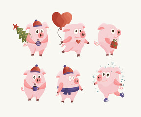 New Year 2019 set with Christmas flat pink pigs.