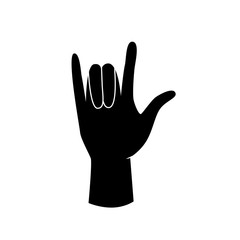 Rock hand gesture vector icon.