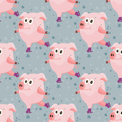 New Year 2019 seamless pattern with christmas cartoon flat pink pigs.